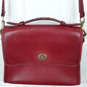 Coach Vintage Red Leather Court Crossbody Bag